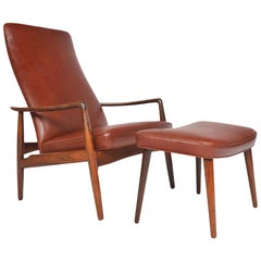 Søren Ladefoged Model 72 Rosewood and Leather Reclining Lounge Chair and Ottoman