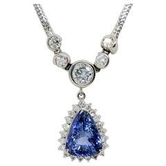 Sri Lanka Blue Sapphire pear Shape and White Diamond Pendant Necklace
