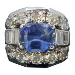 Sri Lanka Ceylon No Heat 4.2 Carat Sapphire and Diamonds White Gold Ring