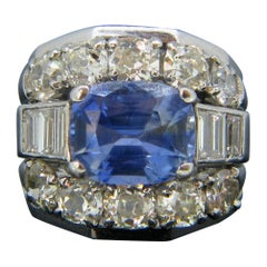 Sri Lanka Ceylon No Heat 4.2 Carat Sapphire and Diamonds White Gold Ring