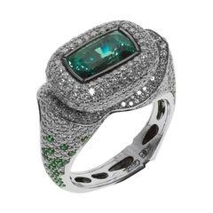 Sri-Lanka Origin 3.12 Carat Alexandrite Diamonds 18 Karat White Gold Ring