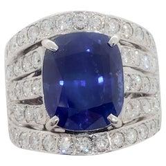 Sri Lanka Royal Blue Sapphire Cushion and Diamond Ring with GRS Certificate