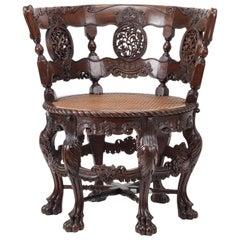 Sri Lankan Mãrã or East Indian Walnut 'Burgomaster' Chair