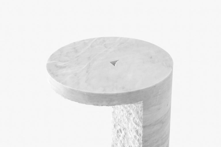 Brutalist White Marble Side Table, S.R.O Collection For Sale