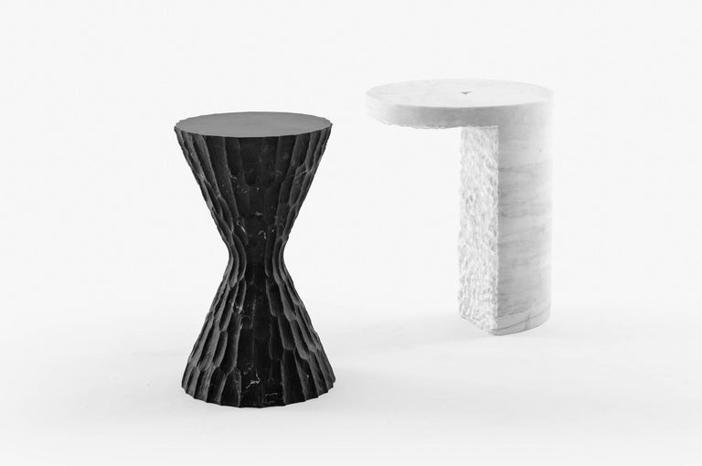 Mexican White Marble Side Table, S.R.O Collection For Sale