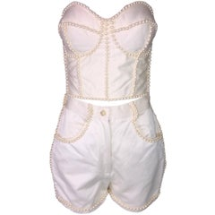 S/S 1992 Dolce & Gabbana Ivory Pearl Embellished Pin-Up Bustier High Waist Short