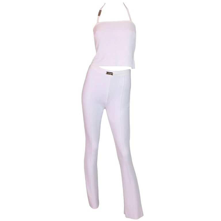 S/S 1995 Dolce & Gabbana Sheer White Knit High Waist Pants & Crop Top Jumpsuit