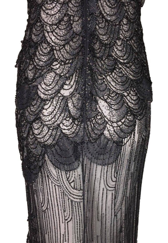 S S 1999 Atelier Versace Runway Sheer Black Mesh Beaded