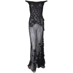 S/S 1999 Atelier Versace Runway Sheer Black Mesh Beaded Embellished Gown Dress