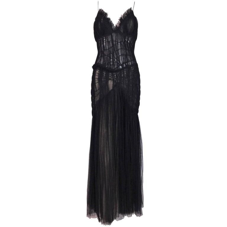 Alexander McQueen Sheer Black Mesh Tulle Mermaid Gown Dress, S / S 2004