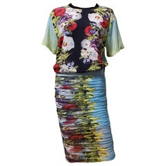 SS 2014 l# 28 VERSACE FLORAL SILK PRINTED STRETCH MESH SKIRT DRESS-Y SUIT 38