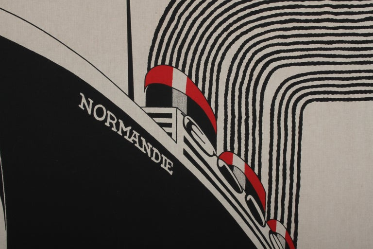 The Normandie framed printed fabric / textile wall hanging designed by Frances Butler for Strömma Sweden, circa late 1960s. Great cotton silkscreen Art Deco transportation design of the famous French Ocean Liner from the 1930s. One very small pin