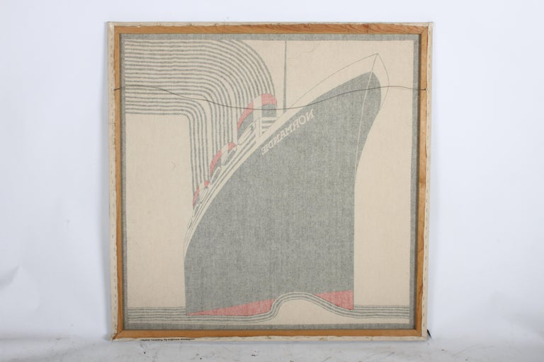 Mid-20th Century SS Normandie Fabric Wall Hanging by Frances Butler for Strömma Sweden Art Deco For Sale