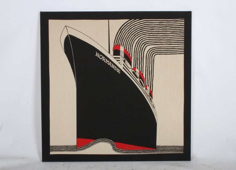 SS Normandie Fabric Wall Hanging by Frances Butler for Strömma Sweden Art Deco For Sale 1