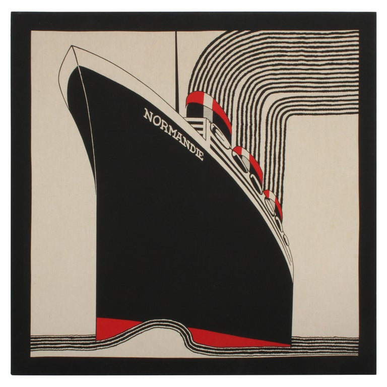 SS Normandie Fabric Wall Hanging by Frances Butler for Strömma Sweden Art Deco For Sale