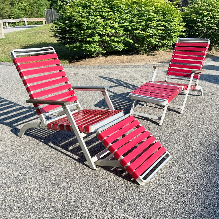 SS United States Pair of Folding Deck Chairs by Troy Sunshade Co. For Sale 5