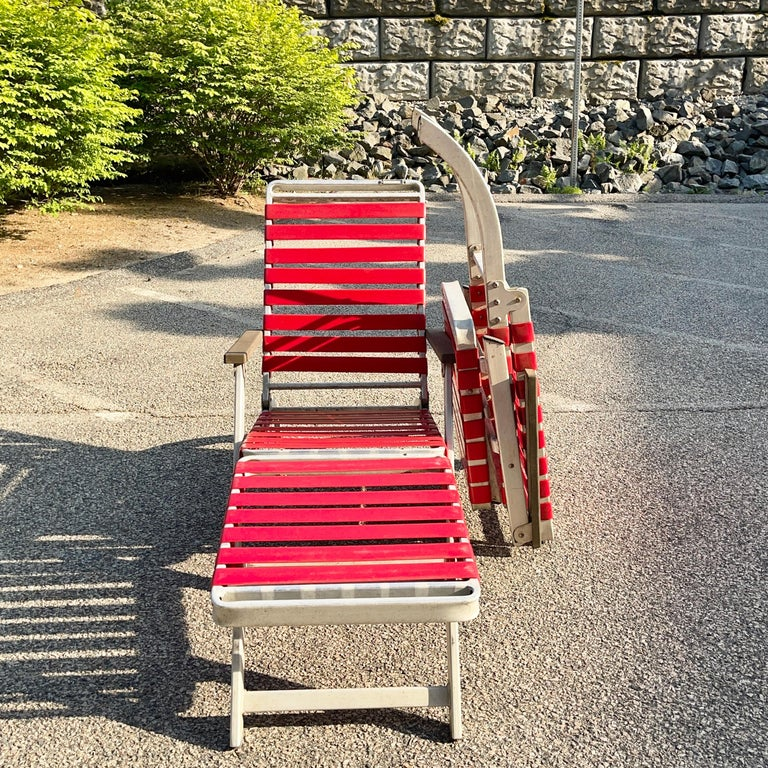 SS United States Pair of Folding Deck Chairs by Troy Sunshade Co. For Sale 6