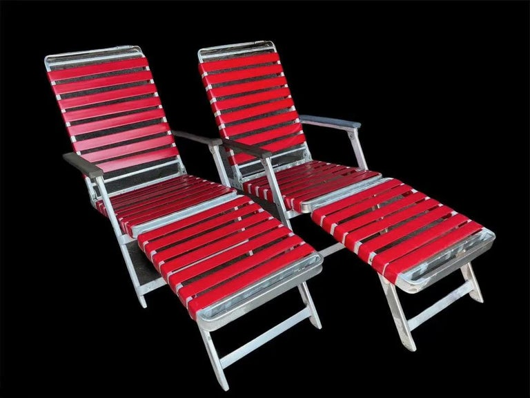 SS United States Pair of Folding Deck Chairs by Troy Sunshade Co. For Sale 7