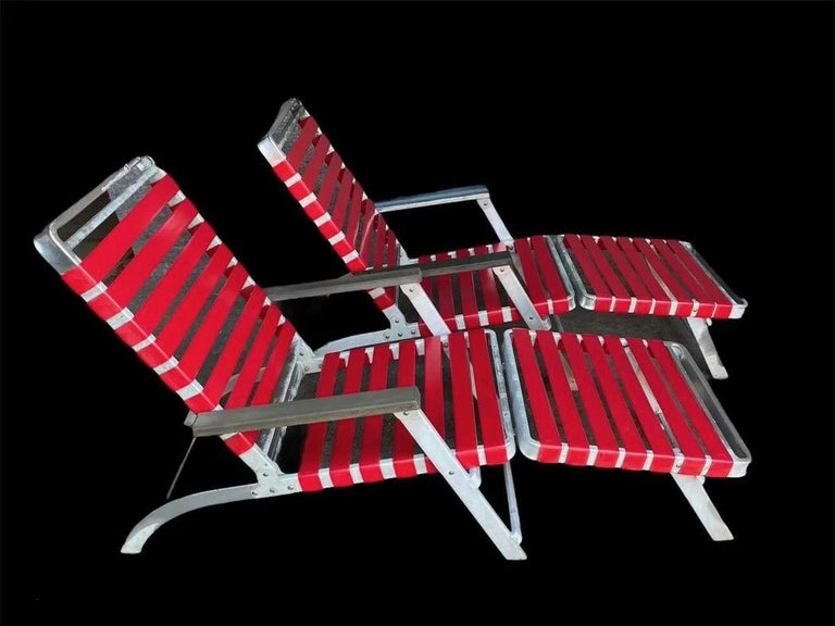 SS United States Pair of Folding Deck Chairs by Troy Sunshade Co. For Sale 8