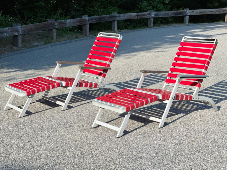 Mid-Century Modern SS United States Pair of Folding Deck Chairs by Troy Sunshade Co. For Sale