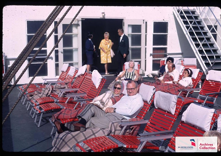 American SS United States Pair of Folding Deck Chairs by Troy Sunshade Co. For Sale