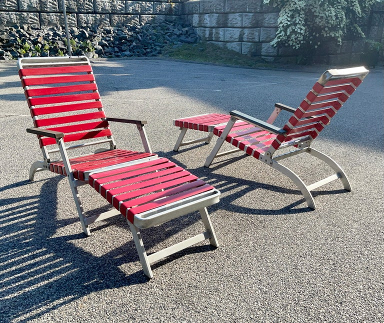 Mid-20th Century SS United States Pair of Folding Deck Chairs by Troy Sunshade Co. For Sale