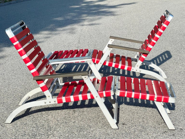 Aluminum SS United States Pair of Folding Deck Chairs by Troy Sunshade Co. For Sale