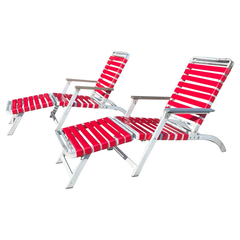 SS United States Pair of Folding Deck Chairs by Troy Sunshade Co. For Sale