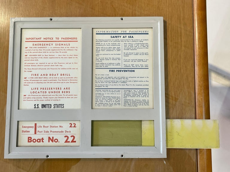 SS United States Sign Notice and Information for Passengers For Sale 2