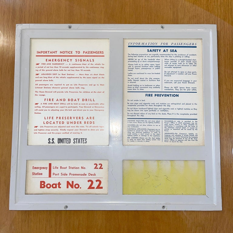 SS United States Sign Notice and Information for Passengers For Sale 5
