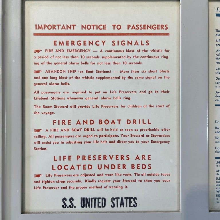 Mid-Century Modern SS United States Sign Notice and Information for Passengers For Sale