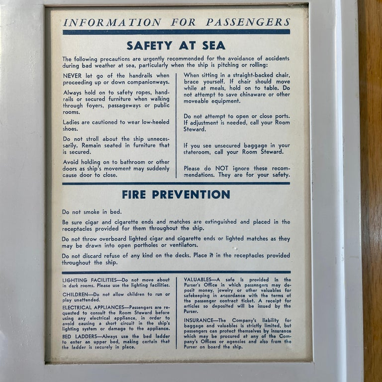 American SS United States Sign Notice and Information for Passengers For Sale