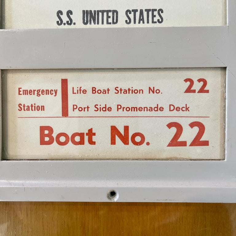 Cast SS United States Sign Notice and Information for Passengers For Sale