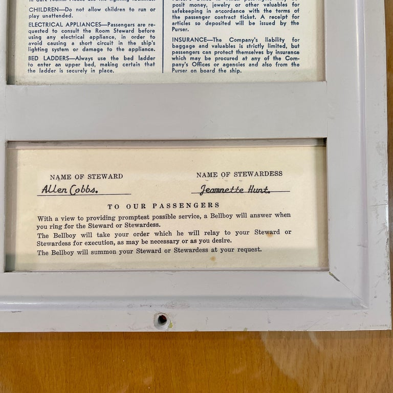 SS United States Sign Notice and Information for Passengers In Good Condition For Sale In Hingham, MA