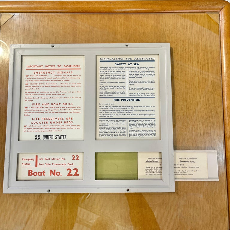 SS United States Sign Notice and Information for Passengers For Sale 1