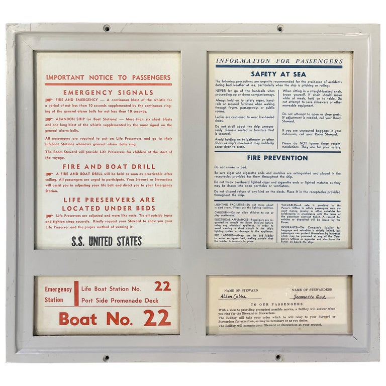 SS United States Sign Notice and Information for Passengers For Sale