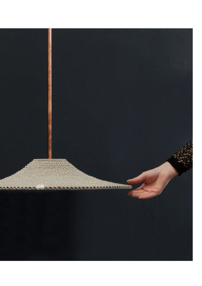 Scandinavian Modern SS01 Ø50 Pendant Light, Hand Crocheted in 100% Mercerized Egyptian Cotton For Sale