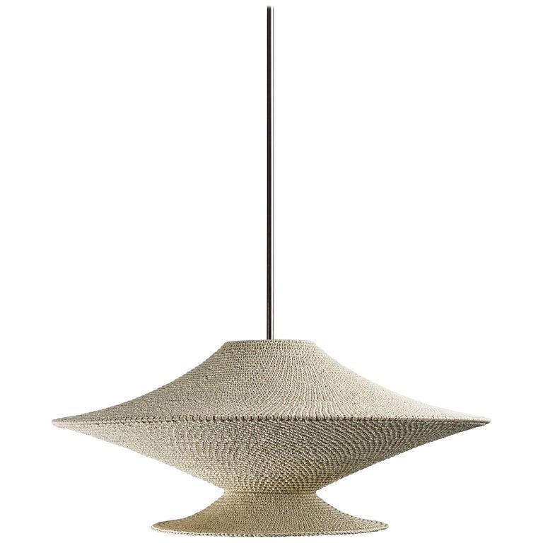 SS04 Ø80 Pendant Light, Hand Crocheted in 100% Mercerized Egyptian Cotton For Sale