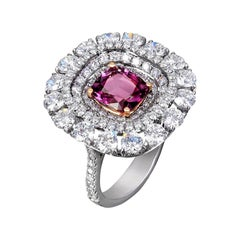 SSEF and GIA Certified Poudretteite and Diamond Ring