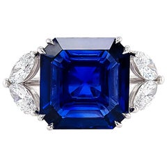 SSEF Certified 10.00 Carat Sapphire Diamond Cocktail Ring