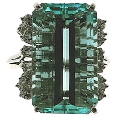SSEF Certified 11.53 Carat Aquamarine Light Blue Cocktail Ring