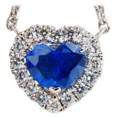 SSEF Certified 3.46ct Natural No Heat Blue Heart Sapphire Diamonds Necklace 18k