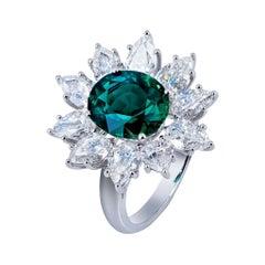 SSEF Certified 3.53 Ct. Grandidierite and Diamond Platinum Ring