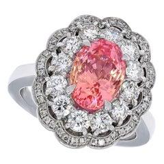 SSEF Certified 4.06 Carat Sapphire No Heat Padparadscha, Diamond Ring