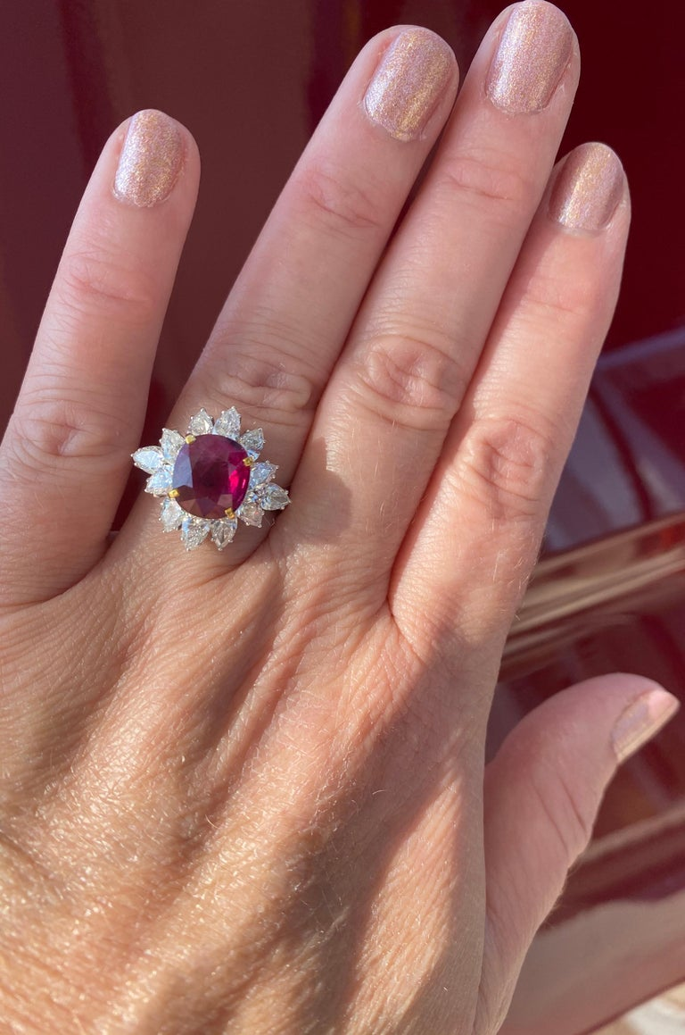 Contemporary Triple Certified 4.09ct Natural Burmese Ruby & Diamond Cocktail Ring 18Kt Gold  For Sale
