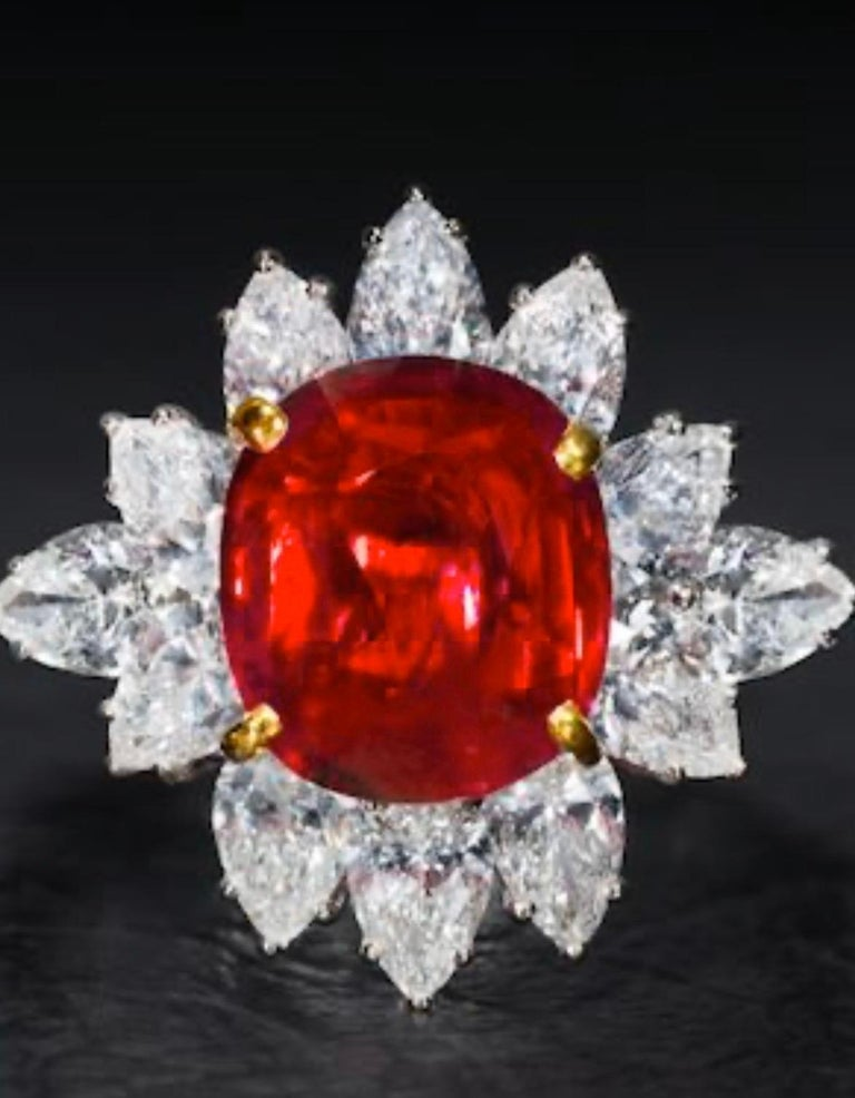 Women's Triple Certified 4.09ct Natural Burmese Ruby & Diamond Cocktail Ring 18Kt Gold  For Sale