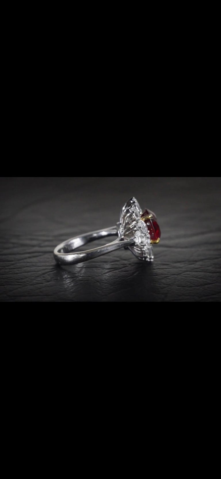 Triple Certified 4.09ct Natural Burmese Ruby & Diamond Cocktail Ring 18Kt Gold  For Sale 2