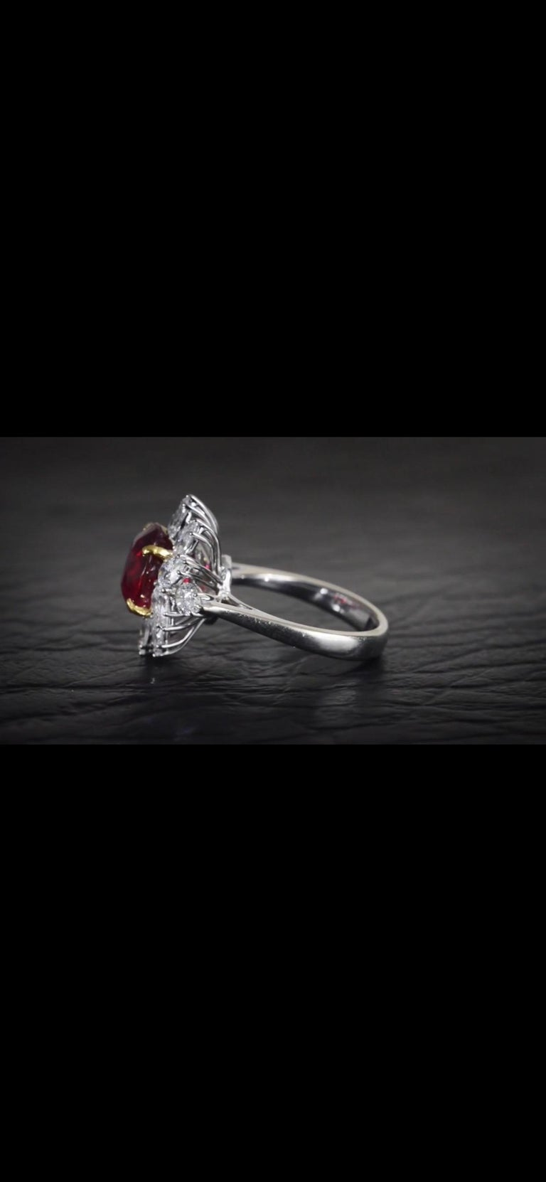 Triple Certified 4.09ct Natural Burmese Ruby & Diamond Cocktail Ring 18Kt Gold  For Sale 3