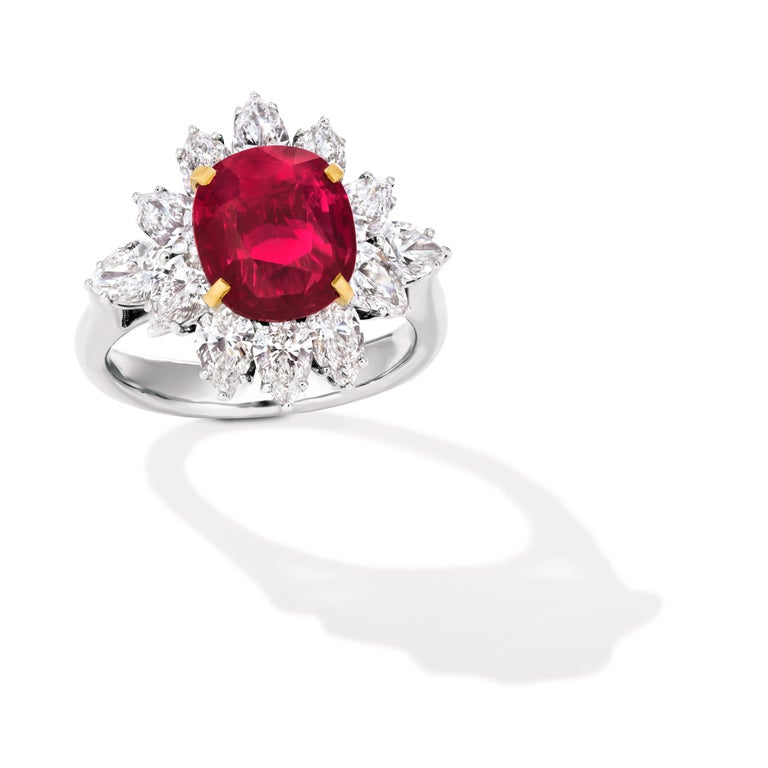 Oval Cut Triple Certified 4.09ct Natural Burmese Ruby & Diamond Cocktail Ring 18Kt Gold  For Sale