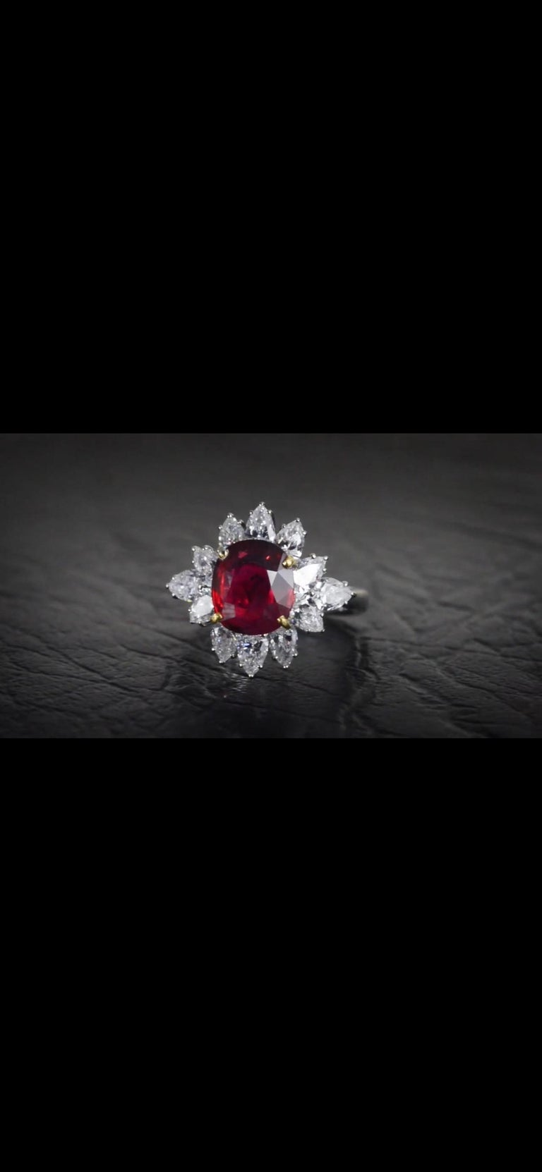 Triple Certified 4.09ct Natural Burmese Ruby & Diamond Cocktail Ring 18Kt Gold  For Sale 4